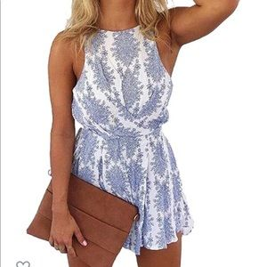 White and blue romper with tie back